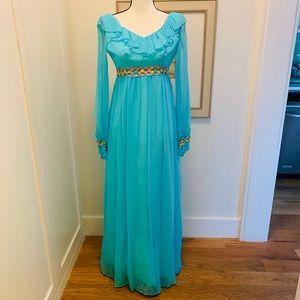 Vintage 1960's Blue Long Sleeved Prom Dress